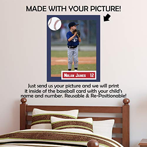 Personalisierte Baseball Card Wall Decal Laden Sie Ihr Bild Custom Baseball Foto RePositionable Poster Ihr Foto an der Wand