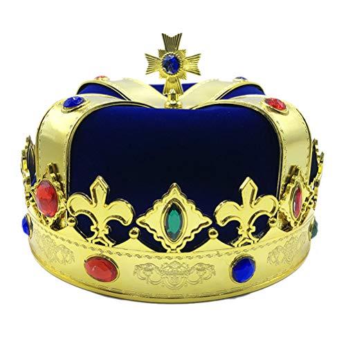 Supervox Royal Jeweled King 's Crown Hat Kostüm Dress Up Set Cosplay Party Zubehör Kinder Erwachsene (blau)