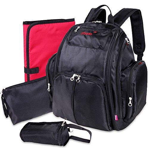 Yodo Nappy Rucksack Wickeltasche für Mom Dad - Wicke Pad - 14 Taschen, Schwarz