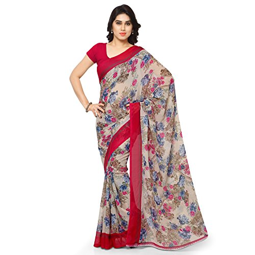Anand Sarees Faux Georgette Pink & Multi Colored Printed Saree With Blouse Piece (1181_3)  available at amazon for Rs.249
