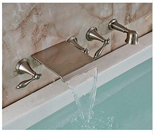 Gowe New Wand montiert Badezimmer Wasserfall Badewanne Wasserhahn Hand Dusche Spritze Nickel Bürste (Wasserhahn Badewanne Nickel Pinsel)