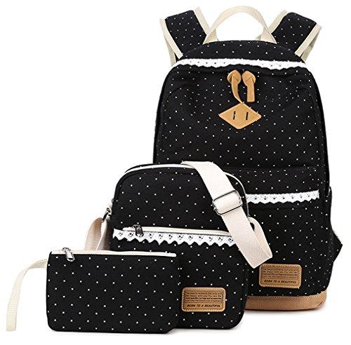 Tibes Zaino Di Tela Zaino Ragazza Borsa Zaino Backpack Women Borsello Donna Schoolbag Zaino Per Pc Dreiteilig Nero