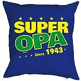 zum 75 Geburtstag Geschenkidee Kissen mit Füllung Super Opa since 1943 Polster zum 75. Geburtstag für 75-jähirge Dekokissen Oma Opa