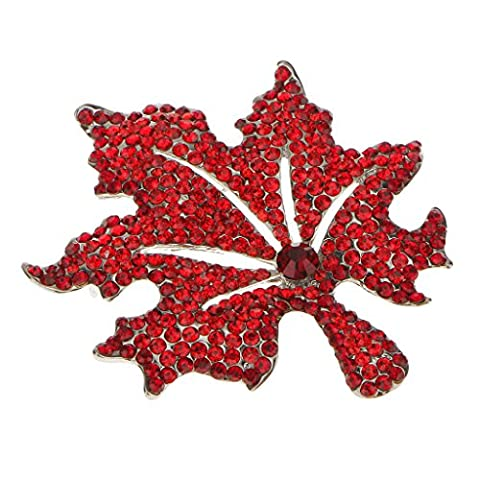 MagiDeal Autumn Maple Leaf Brooch Pin Fashion Broach Xmas Wedding Party Jewelry - Red
