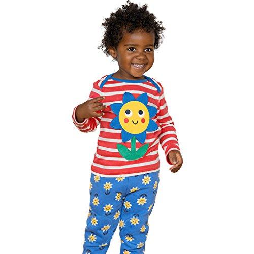 ge Kleidung für Baby JYJMLangarmhemd-Hemd zu Hause Service für Mädchen Baby-Blumen-Druckoberseiten-Blusen-Streifen-T-Shirt Outfit-Kleidung (Größe: 24 Monate, Rot) (Zu Hause Kostüme)