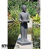 XXL Buddha Skulptur Gartendeko stehend steingrau, Höhe 100 cm