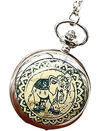 Infinite U Verte Éléphant Céramique Grande Montre de Poche Quartz avec Miroir Chiffres Arabes Argent