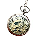 Infinite U Elefante Verde Cerámico Grande Reloj de Bolsillo Cuarzo con Espejo Números Arábigos Plateado