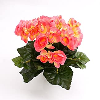 artplants.de Begonia Artificial con 27 Hojas, 9 Flores, Rosa, 20cm, Ø 20cm – Planta Decorativa – Flores Artificiales