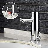 Infrarot Sensor Wasserhahn, WOOHSE Automatisch Induktion Waschbeckenarmatur Spüle IR Bad Armatur Automatik Kalt + Warmwasser Mischbatterie Einhandmischer für Badezimmer
