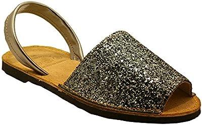 15090G - Sandalia ibicenca glitter plata