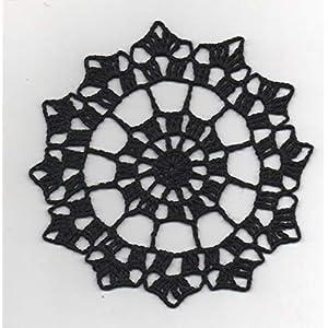 Untersetzer/Minideckchen aus schwarzem Baumwollgarn