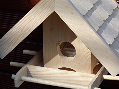 Vogelhaus + XXL- FUTTERSILO,K-VOWA3-natur002 Großes Vogelhäuschen + 5 SITZSTANGEN, KOMPLETT mit Futtersilo + SICHTGLAS für Vorrat PREMIUM-Qualität,Vogelhaus,- ideal zur WANDBESTIGUNG – Futterhaus, Futterhäuschen WETTERFEST, QUALITÄTS-SCHREINERARBEIT-aus 100% Vollholz, Holz Futterhaus für Vögel, MIT FUTTERSCHACHT Futtervorrat, Vogelfutter-Station Farbe natur, Ausführung Naturholz MIT TIEFEM WETTERSCHUTZ-DACH für trockenes Futter - 2