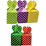 Cake Decor Small Cardboard Paper Candy Boxes Chocolate Gift Sweet Box Dry Fruits Polka Dot with Heart (Pack of 6pcs)