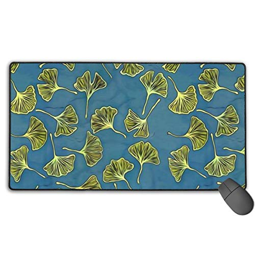 Ginkgo Leaves Custom Mouse Pad,Large Gaming Mouse Pad,Extended Mousepad with Durable Stitched Edges,Computer Keyboard, PC and Laptop