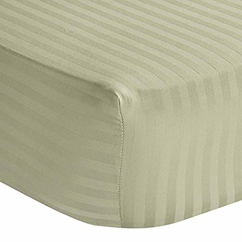Homescapes 100% Egyptian Cotton Satin Stripe Fitted Sheet Sage Green Small Double Size 4 ft Bedding 330 Thread Count Percale Anti Dust Mite