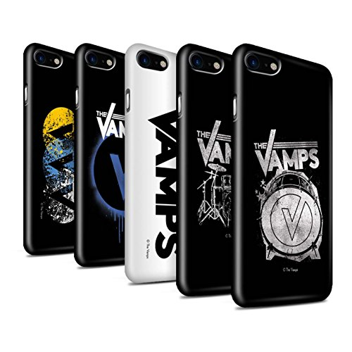 Offiziell The Vamps Hülle / Glanz Snap-On Case für Apple iPhone 8 / Weiß/Schwarz Muster / The Vamps Graffiti Band Logo Kollektion Pack 6pcs