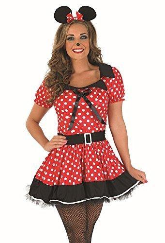 Rot Fräulein Minnie Maus Party Kostüm Outfit UK 8-26 Übergröße - Rot, 8-10 (Sexy Minnie Kostüme)