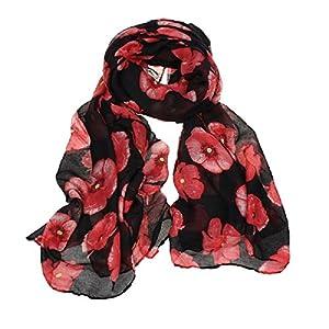Shawl Scarf, New Red Poppy Print Long Scarf Flower Beach Wrap Ladies Stole Shawl