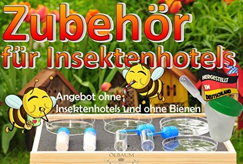 Bienen-Futter,MIT HOLZBOX für Insektenhotels, Bienenhotels und Wildbienen - Futterstation mit Tränken und Futterschalen, Futterkonzentrate, Menüplan, Gästeliste und Anleitung + witzige