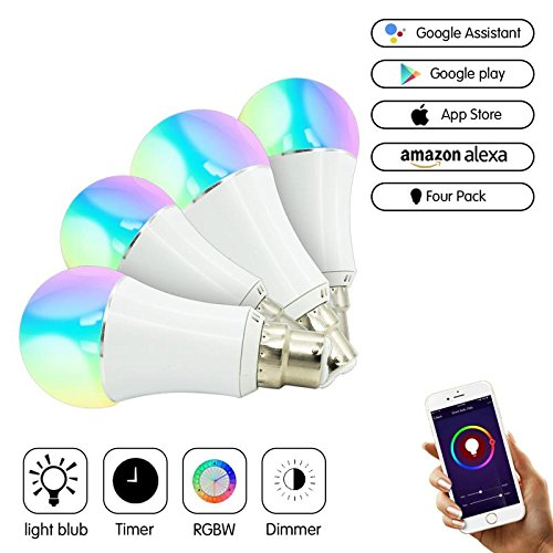 Smart Bulb, Bakros Color Changing Led Light Bulb [B22 bayonet 6W] 40Watts Equivalent. Mood Light Bulbs that Compatible with Alexa/Google Home [Dimmable] [Remote Control] [No HUB]. (4 Pack)