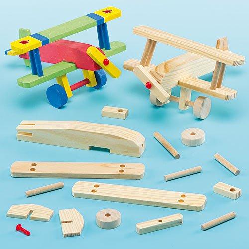 Baker Ross Holzflugzeug-Bastelsets - für Kinder zum Basteln und Bemalen - toll als Dekoration (2 Stück)