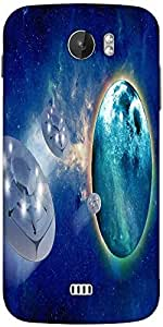 Snoogg Aliens Spacecrafts Designer Protective Back Case Cover For Micromax A110