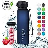 720°DGREE Trinkflasche 'uberBottle' - 1 Liter, 1000ml, Blau | Neuartige Tritan Wasser-Flasche | Water Bottle BPA Frei | Ideale Sportflasche für Kinder, Fitness, Fahrrad, Sport, Fussball