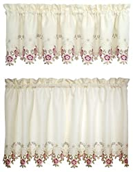 Today's Curtain Verona Reverse Embroidery Window Tier, 24-Inch, Ecru/Rose