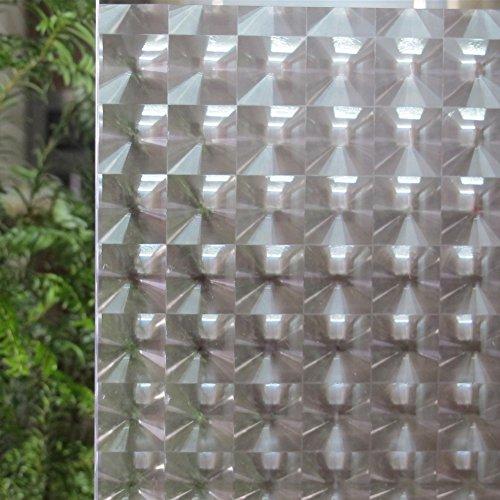 liveinu película de ventana estática 3d película aislante esmerilado película Vitre Intimacy estática película decorativa adhesiva película adhesivo reutilizable UV Protección Cristal para casa sala baño Dormitorio Cocina Oficina, pvc, Mosaïque Diamond Pattern 2, 45 x 300 cm