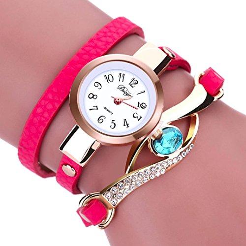 LSAltd Damen Art und Weisediamant-Verpackung um Uhr Lederoid Quarz Armbanduhr (Pink) (Damen Hochzeit Bands Pink)