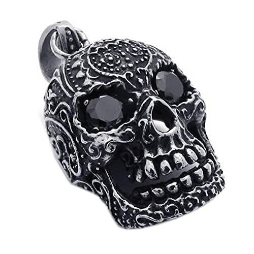 KONOV-Joyera-Collar-con-Colgante-de-hombre-Cadena-45-65cm-Calavera-Crneo-Tribal-Gtico-Biker-Circonita-Acero-inoxidable-Color-negro-plata-con-bolsa-de-regalo