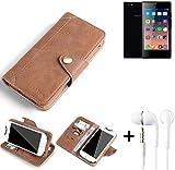 K-S-Trade® Schutzhülle für Siswoo A5 Hülle Tasche Handyhülle Handytasche Wallet Flipcase Cover Handy Tasche Kunsteleder Braun Inkl. in Ear Headphones