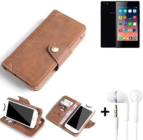 K-S-Trade® Schutzhülle für Siswoo A4+ Hülle Tasche Handyhülle Handytasche Wallet Flipcase Cover Handy Tasche Kunsteleder Braun Inkl. in Ear Headphones
