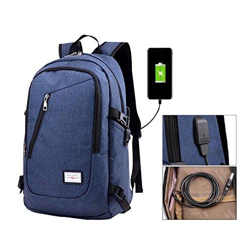 Fastar, zaino per computer portatile con porta USB di ricarica, leggero e resistente, Blue