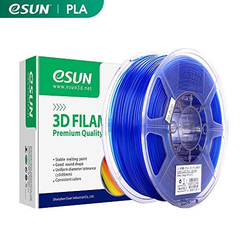 eSUN Transparente PLA Filamento de Impresora 3D, Filamento PLA 1.75mm, Precisión Dimensional +/- 0.05mm, 2.2 LBS (1kg) para la Impresora 3D y Pluma 3D, Azul Transparente