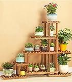 DQMSB Multi-Strato Fiore/pianta Stand/mensola in Legno da Giardino pianta espositore mensola in Legno da Giardino Rack in Legno Esterno/Giardino Interno 120x36x95cm