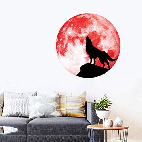 Eliasan Halloween Requisiten Kreative Luminous Moon Wandaufkleber Luminous Wolf Muster Dekoriert für Wohnzimmer Schlafzimmer Halloween Party Decor Indoor Rot L (Muster Für Eine Wolf Kostüm)