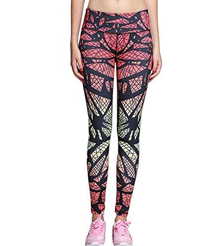 Alisa.Sonya - Legging de sport - Femme gris imprimé print in red