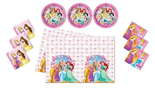 (Motto Party Geburtstag Feier Dekoration Set: Servietten Tischdecke große Teller 29 Teile für 8 Kinder - Disney Princess)
