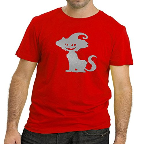 Heyuze Printed Premium Quality 100% Cotton Half Sleeve Male / Men Round Neck Red T Shirt with Cat Love Design