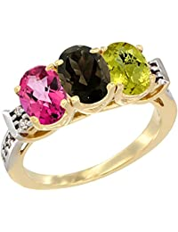 14 Karat Gelb Gold Natur Pink Topaz, Smoky Topaz & Lemon Quarz Ring Ehering 7 x 5 mm Oval Diamant Accent, Größe L