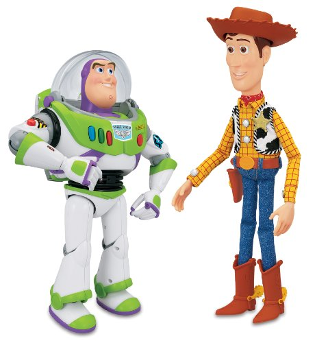 Toy Story 3 sprechende Figur: Sheriff Woody 40cm + Buzz Lightyear 30cm Version englisch