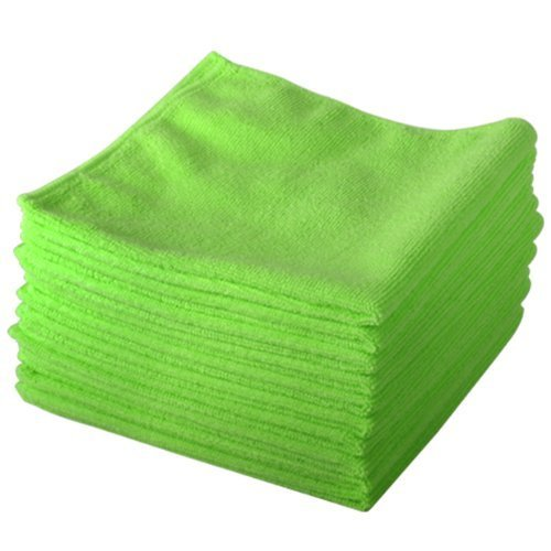 10-pack-of-green-lint-free-microfibre-exel-super-magic-cleaning-cloths-for-polishing-washing-waxing-