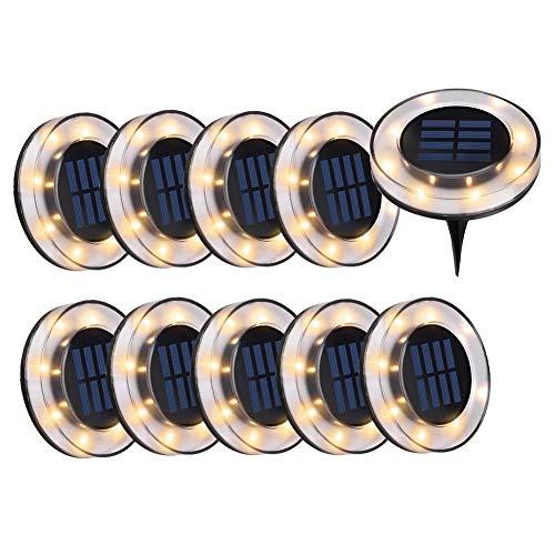 WZTO Solarleuchten Garten, 8 LEDS Bodeneinbauleuchte Außenleuchte IP65 Wasserdicht Solarleuchte Bodenstrahler für Rasen Weg Hof Fahrstraßen Innenhof Gehweg Pool-Bereich