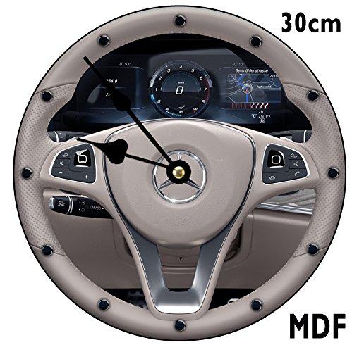 SGH Dienstleistungen Mercedes-Benz E Class Lenkrad MDF Wanduhr groß 30cm kann personalisiert werden