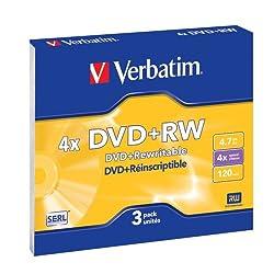 Verbatim Dvd+rw Rohlinge, 4x, 4.7gb, Kratzfest