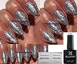 BLUESKY KD32 Nagellack-Gel, Soak-Off, in Silber-Glitzer, Silber mit grobem Glitzer, UV-LED-Gel, inkl. 2LuvliNail-Glanz-Tücher