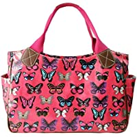Miss Lulu-Tela cerata da donna, motivo floreale, da bambina, motivo: gufo a pois con farfalla Day Borsa Shopper Borsa da viaggio