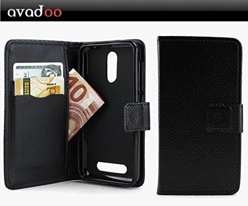 avadoo® Archos 45 Neon Flip Case Cover Schwarz Ledercase vernäht und mit doppelten Kartenschacht als Cover Tasche Hülle